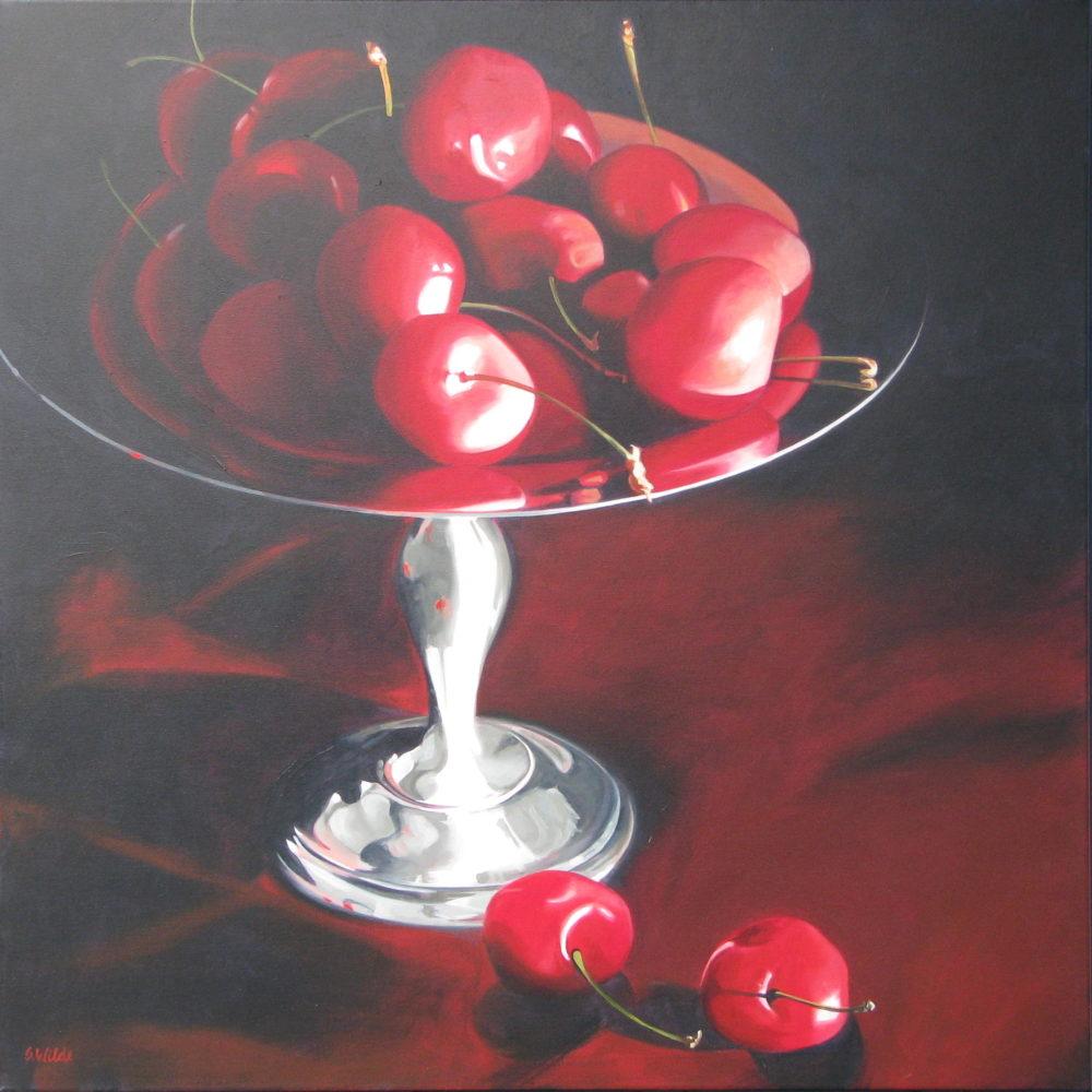 Cherries In A Silver Pedestal Dish - Susan Wilde
