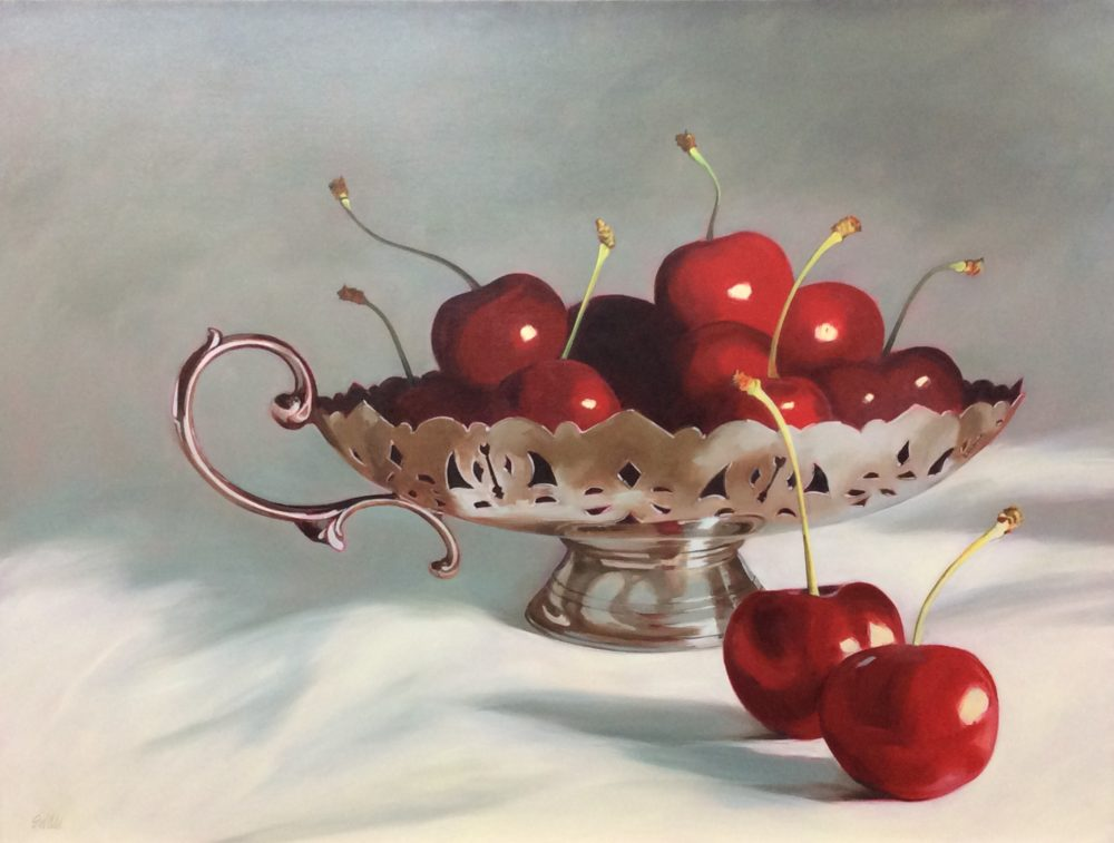 Cherries In A Silver Handled Dish - Susan Wilde