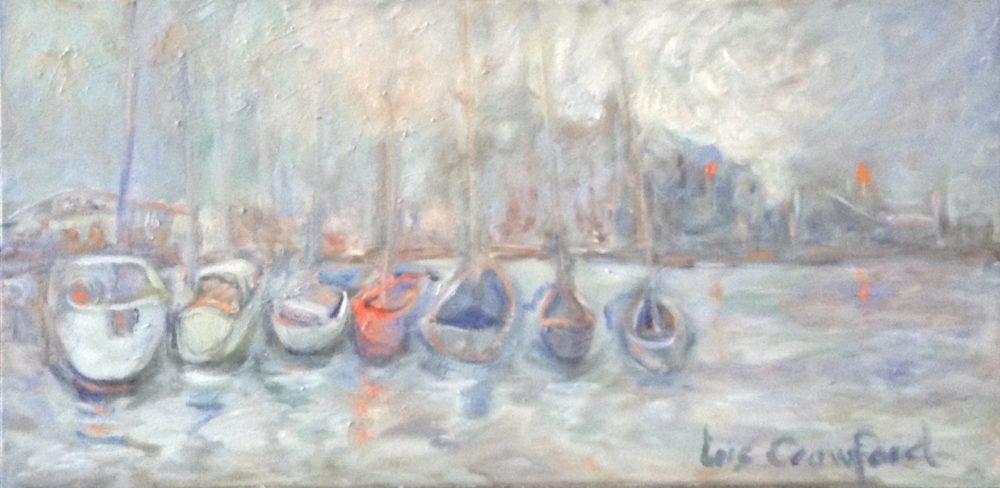 Boats At Anchor Lasalle Marina - Lois Crawford
