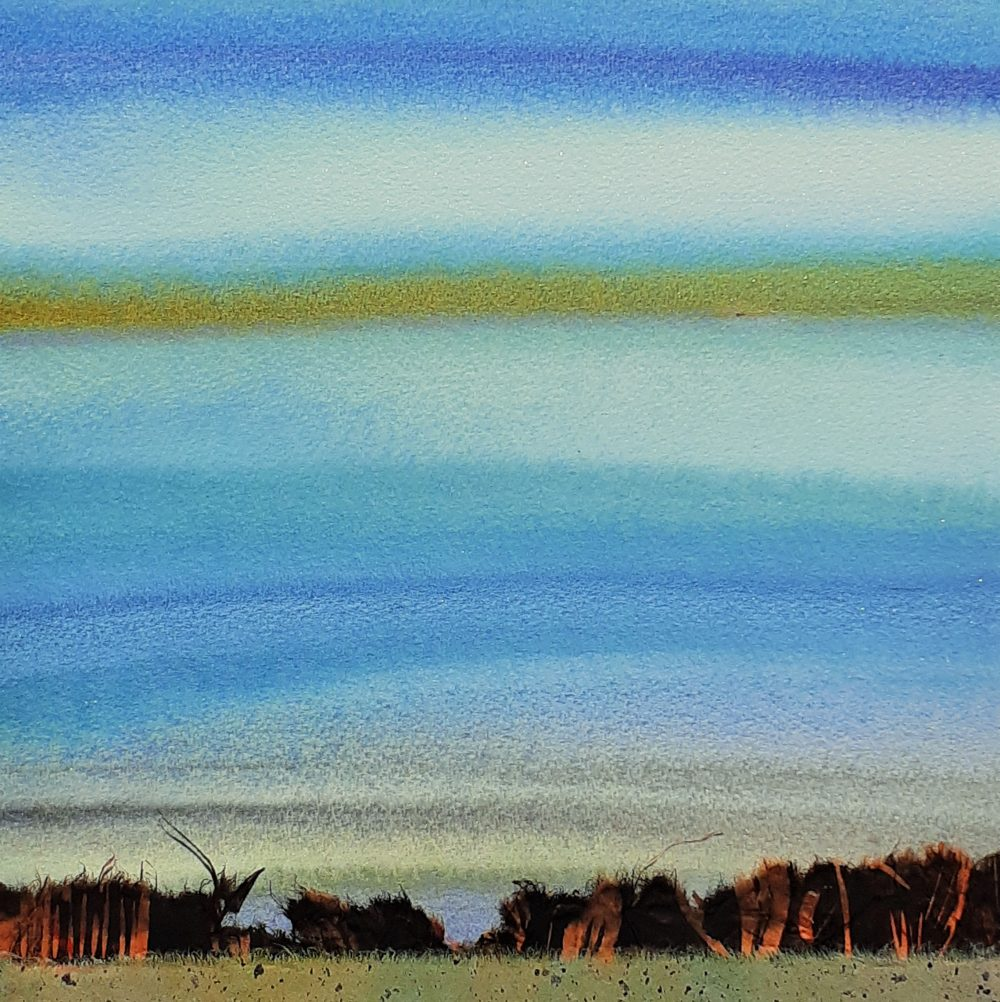 Blue, Ochre, Black, Orange Fringe - Dominique Prevost
