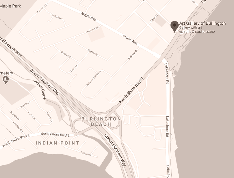 Map showing the location of the Art Gallery of Burlington